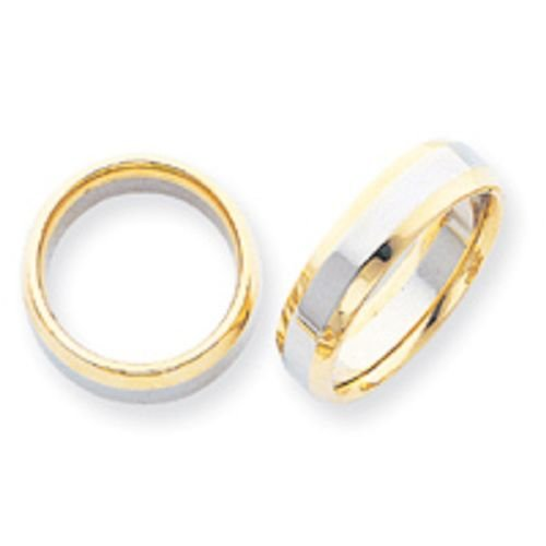 14K Gold Two Tone Domed Wedding Band