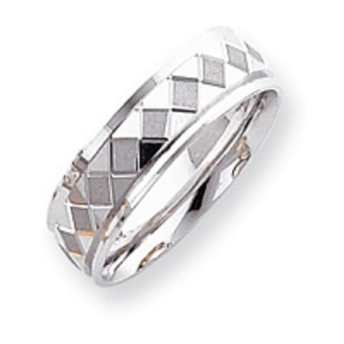 14K White Gold Etched Wedding Band