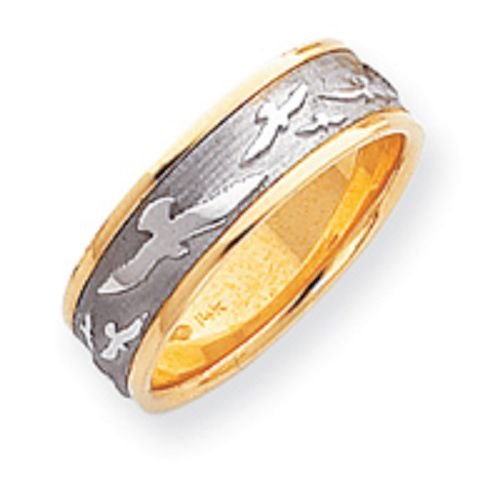 14K Gold Two Tone Etched Wedding Band
