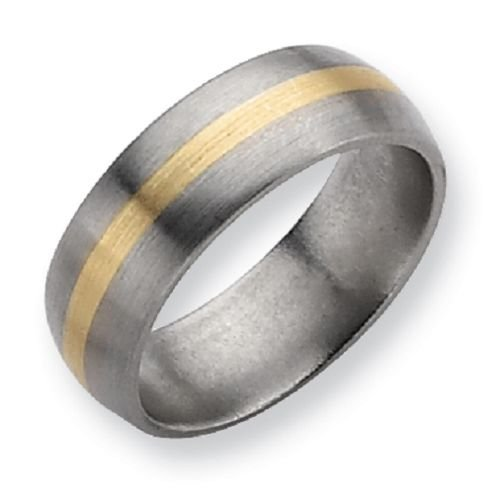 Titanium 8 mm with 14K Gold Center Gent's Wedding Band