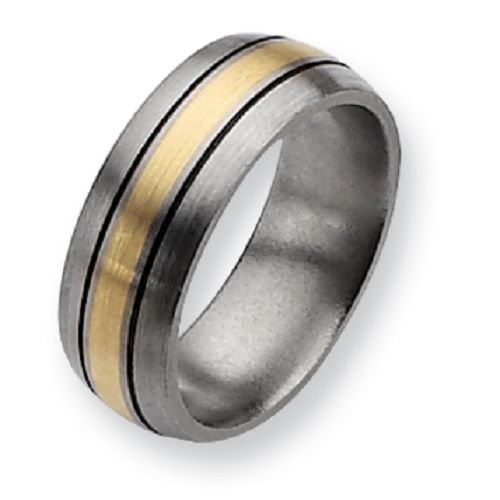 Titanium and 14K Gold Antiqued 8mm Gent's Wedding Band