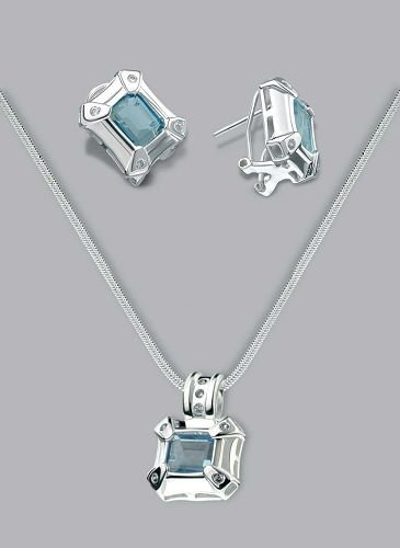 Silver Laminated Aqua Cap Stone Necklace Set