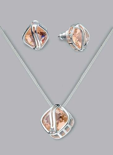 Silver Laminated Topaz Bridge Necklace Set