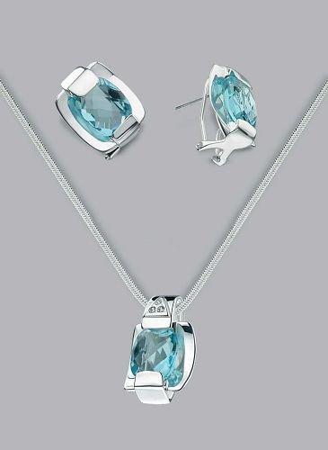 Silver Laminated Aqua Clip Necklace Set