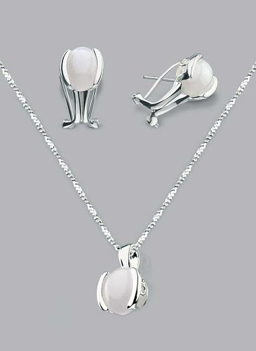 Silver Laminated White Pearl Z Necklace Set