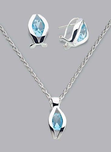 Silver Laminated Lite Blue Necklace Set