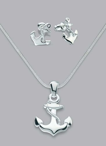 Silver Laminate Anckor Necklace Set