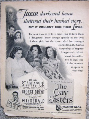 Vintage movie ad for 1942 The Gay Sisters