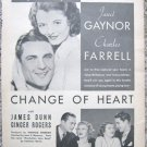 "Vintage 1934 movie print ad ""Change of Heart"""
