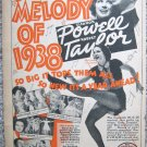 "Vintage 1937 color print ad ""Broadway Melody of 1938"""