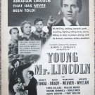 """Vintage 1939 print advertisement """"Young Mr. Lincoln"""" movie"""