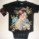 BLACK PUNKY TATTOO STYLE ONESIE OR TEE OF A JAPANESE GEISHA GIRL