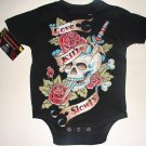 "BLACK PUNKY TATTOO STYLE ONESIE OR TEE OF A SKULL WITH DAGGER AND WORDING ""LOVE KILLS SLOWLY"""