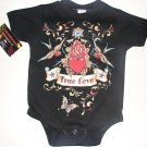 "NEW BLACK TATTOO PUNKY STYLE ONESIE OR TODDLER TEE OF SPARROWS AND HEART WITH WORDING"" TRUE LOVE"""