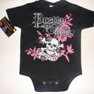 "NEW BLACK PUNKY TATTOO STYLE ONESIE OR TODDLER TEE OF GIRLIE SKULL WITH WORDING ""PRETTY FOREVER"""