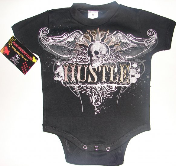 "NEW BLACK PUNKY TATTOO STYLE ONESIE OR TODDLER TEE OF A SKULL WITH WINGS ""HUSTLE"""