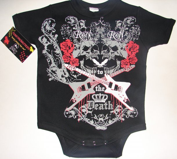 """NEW BLACK TATTOO STYLE ONESIE OR TODDLER TEE OF SKULLS, ROSES AND GUITARS """"ROCK n ROLL"""""""