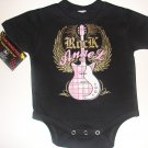 "NEW BLACK PUNKY ROCKER STYLE ONESIE OR TODDLER TEE OF A GUITAR ""ROCK ANGEL"""