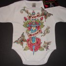 "NEW LONG SLEEVE TATTOO STYLE ONESIE OF A DAGGER WITH FLOWERS AND WORDING ""FREE SOUL"""