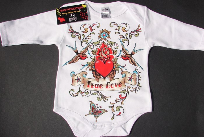 """NEW WHITE LONG SLEEVE TATTOO STYLE ONESIE OF SPARROWS AND HEART """"TRUE LOVE"""""""