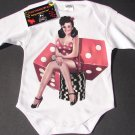 NEW WHITE LONG SLEEVE ROCKABILLY STYLE ONESIES PIN UP GIRL