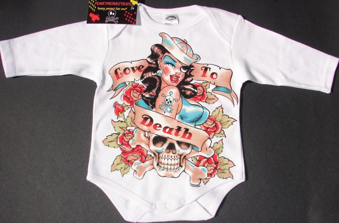 """NEW WHITE LONG SLEEVE PUNKY TATTOO STYLE ONESIE OF A LADY SAILOR WITH WORDING """"LOVE TO DEATH"""""""