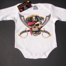 NEW WHITE LONG SLEEVE PUNKY STYLE ONESIE OF A JOLLY PIRATE