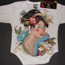 NEW WHITE LONG SLEEVE TATTOO STYLE ONESIE OF A JAPANESE GEISHA GIRL