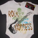 "NEW WHITE SHORT SLEEVE ROCKER STYLE ONESIE OR TODDLER TEE OF A GUITAR ""ROCK GODDESS"""