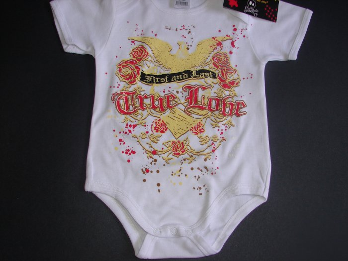 "NEW WHITE SHORT SLEEVE TATTOO ONESIE OR TODDLER TEE OF A EAGLE ""FIRST AND LAST TRUE LOVE"""