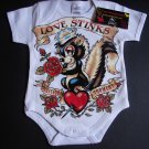 "NEW WHITE SHORT SLEEVE ONESIE OR TODDLER TEE OF A SKUNK ""LOVE STINKS"""