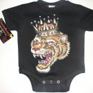 NEW BLACK PUNKY TATTOO STYLE ONESIE OR TODDLER TEE OF A TIGER WITH CROWN