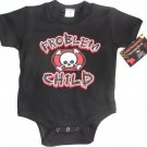 "NEW BLACK ONESIE OR TODDLER TEE OF CROSSED BONES ""PROBLEM CHILD"""