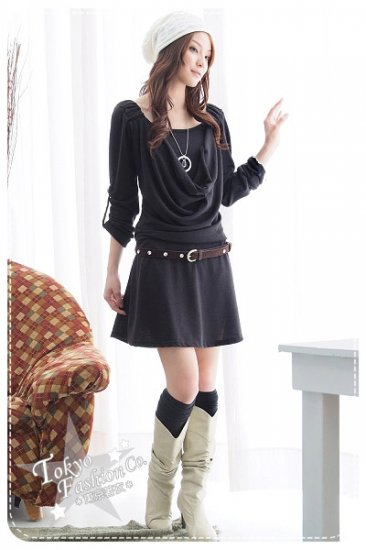 Black long-sleeved short dress with belt (Item no: P09011902)