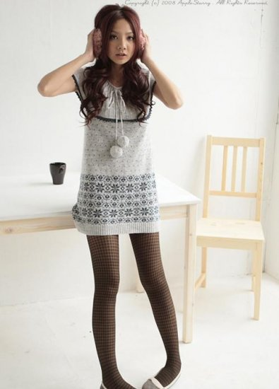 Light Grey Sleeveless Knitted Dress With Big Round Collar (Item no. P09011014)