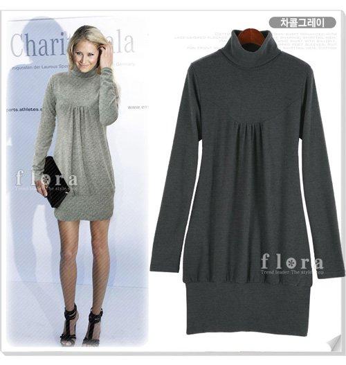 Dark Grey Long Sleeve Turtleneck Short Dress (Item no. X08122432-1)