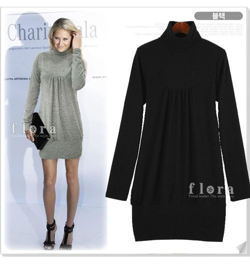 Black Long Sleeve Turtleneck Short Dress (Item no. X08122432-3)