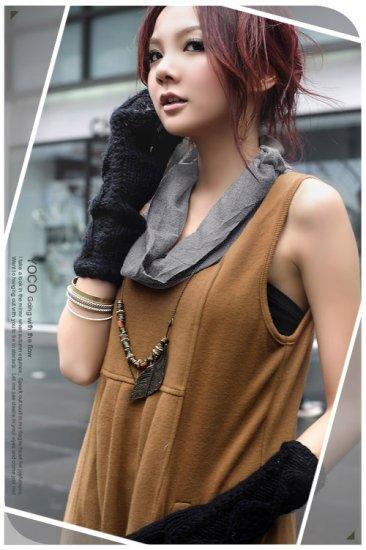 Brown Sleeveless Short Dress (Item no. P09010420)
