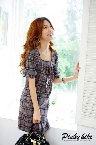 Cute Grey Short Sleeve Checked Dress (Item no. P09010416)