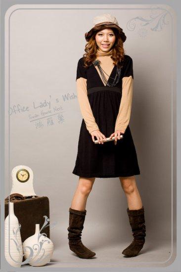 Black Velvet 2 Piece Dress With Fake Long Sleeve Peach Turtleneck (Item No. Z809001-1)