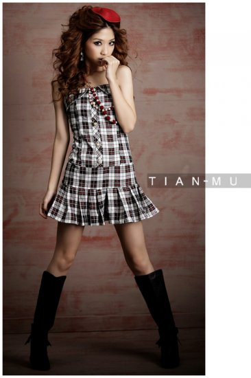 White Short Plaid Tube Dress (Item no. P08121503)