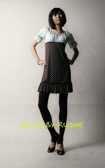 Black & White Short Sleeve Polka Dot Dress (Item no. C0808107)