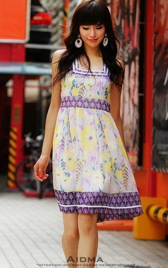 Chiffon Floral Baby Doll Sleeveless Dress (Item no. C0808094)