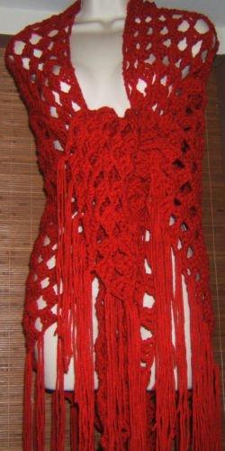 NEW HANDMADE CROCHET CLUSTER SHAWL RED