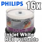 100 PK PHILIPS 16X White Inkjet HUB Printable DVD-R Disc (PHIDV6MP50)