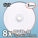 1 (One) White Inkjet HUB Printable Blank DVD-R 8X Disc