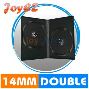 100 Standard 14mm Double CD DVD Disc Black Movie Case Box