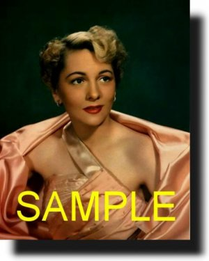 8X10 JOAN FONTAINE RARE COLOR VINTAGE PHOTO PRINT