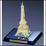 Minature Collectible Crystal Eiffel Tower with 24kt gold accents