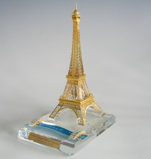 11 inch high Collectible Crystal Eiffel Tower with 24kt gold plated accents